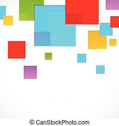résumé, carrés, coloré