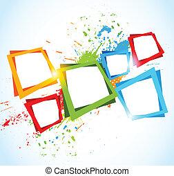 résumé, carrés, coloré, fond