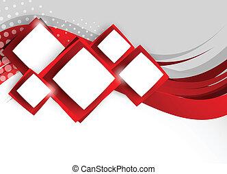 résumé, carrés, fond, rouges