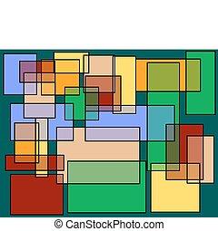 résumé, carrés, rectangles, fond
