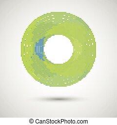 résumé, cercle, blanc vert, fond