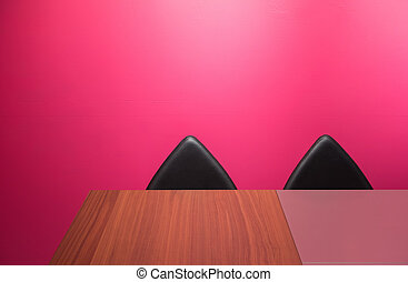résumé, chaises, mur, bureau, &
