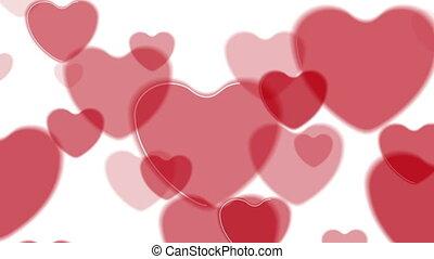 résumé, clair, animation, vidéo, cœurs, rouges