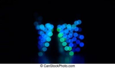 résumé, clair, clignotant, mouvement, lumières, bokeh, barbouillage, .slow