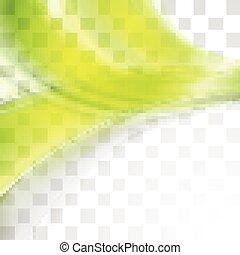 résumé, clair, vert, vagues, doux, transparent