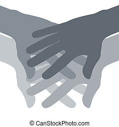 résumé, collaboration, mains