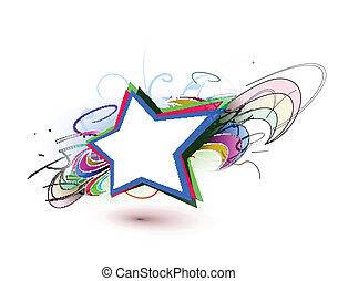 résumé, coloré, étoiles, fond
