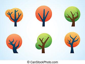 résumé, coloré, arbres