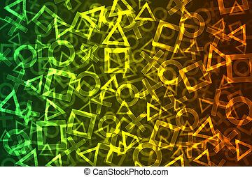 résumé, coloré, bokeh, fond, signes