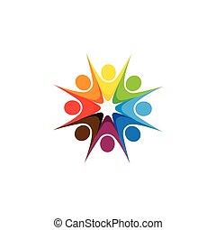 résumé, coloré, cinq, heureux, gens, vecteur, logo, icônes,...