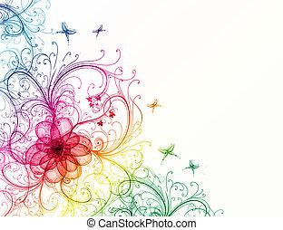 résumé, coloré, floral, fond