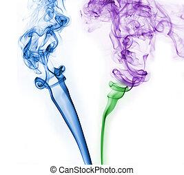 résumé, coloré, fumée, fond, blanc