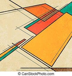 résumé, coloré, géométrique, fond, retro