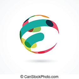résumé, coloré, globe, business, icône