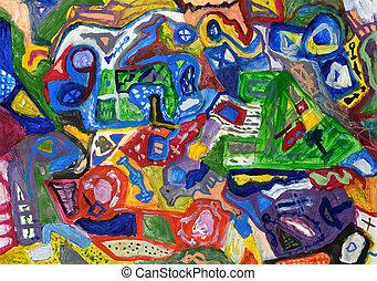 résumé, coloré, main, peint, fond