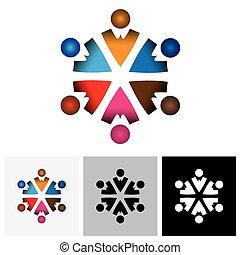 résumé, coloré, vecteur, logo, icône, de, children(, gosses, ), dans, cercle