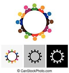 résumé, coloré, vecteur, logo, icônes, de, enfants, ou, gosses, dans, école, debout, dans, cercle