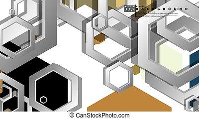 résumé, composition., milieu, géométrique, âges, hexagone, ...