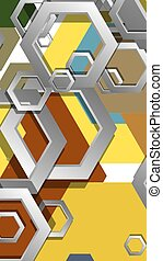 résumé, composition., milieu, géométrique, âges, hexagone, couleur, illustration, fond, vecteur