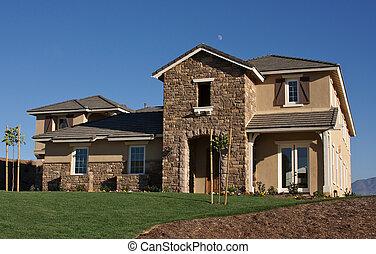 résumé, construction, façade, nouvelle maison