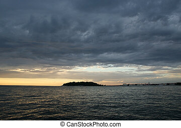 résumé, coucher soleil, fond, océan