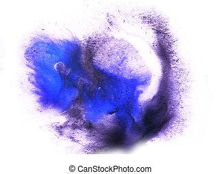résumé, coup, encre, aquarelle, bleu, pourpre, brosse, couleur eau, éclaboussure, peinture, aquarelle, fond