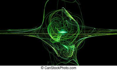 résumé, courbes, arrière-plan vert, vagues, 3d