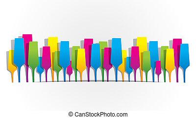 résumé, créatif, champag, colorfull