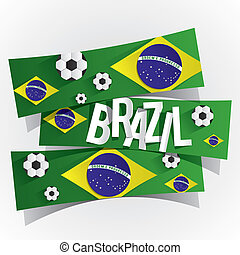 résumé, créatif, drapeau, brésilien