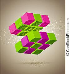 résumé, cube, coloré
