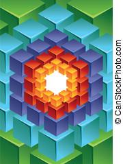 résumé, cube, moderne, fond