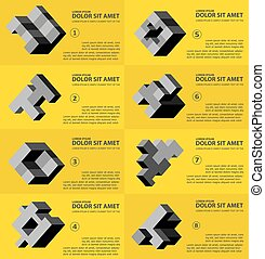 résumé, cube, tridimensionnel