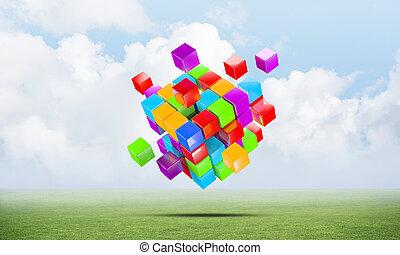 résumé, cubes, coloré, pré vert