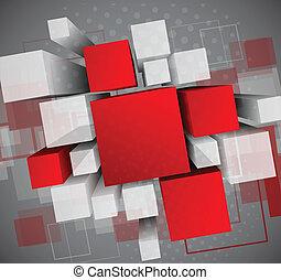 résumé, cubes, fond, 3d