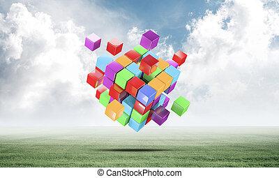résumé, cubes, pré vert, coloré