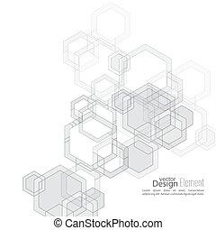 résumé, cubes, transparent, fond