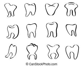 résumé, dent, icône