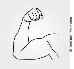 résumé, dessin, bras, homme