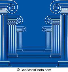 résumé, dessin, Grec, vecteur, ligne, escalier,  format, colonnes