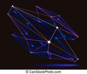 résumé, dimensionnel, lignes, style, science, maille, dynamique, forme, effect., réaliste, vecteur, treillis, profondeur, polygonal, connexions, conception, abstraction, champ, points, numérique, 3d, technologie