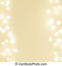 résumé, doré, noël, hiver, fond, à, fête, incandescent, bokeh, lumières, copyspace