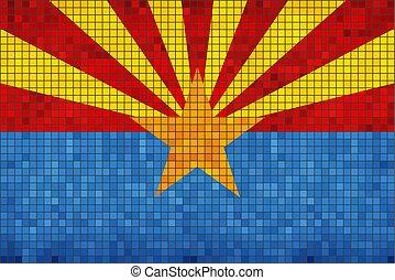 résumé, drapeau arizona, mosaïque