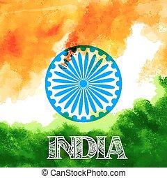 résumé, drapeau tricolore, aquarelle, drapeau, indien, fond