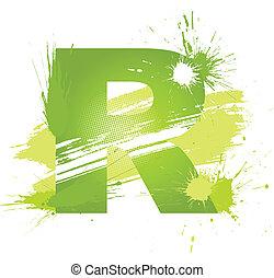 résumé, eclabousse, font., lettre, coloriage vert, r