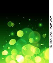 résumé, effet, bokeh, vecteur, arrière-plan vert
