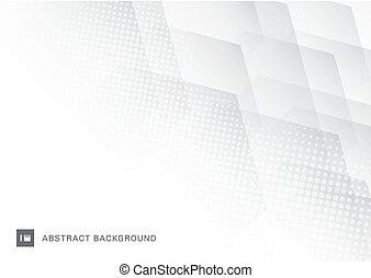 résumé, effet, chevaucher, halftone, arrière-plan., blanc, hexagones, technologie