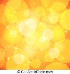 résumé, effet, jaune, bokeh, vecteur, fond
