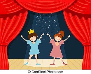 Gosses, théâtre, dessin animé. Théâtre, scène, illustration, fond, enfants, spectacles.
