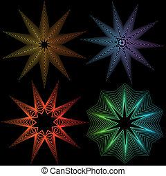 résumé, ensemble, étoile, ligne