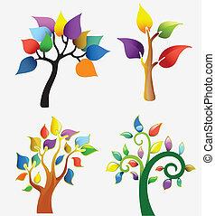 résumé, ensemble, arbre, icônes